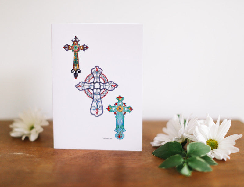 Three Crosses Note Card (Blank) - Falling Leaf Card Co.