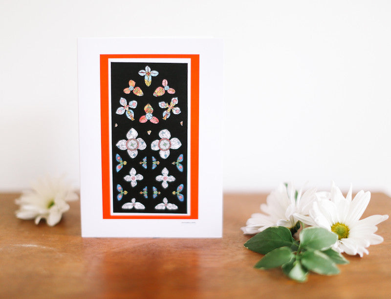 Spanish Stained Glass Window Greeting Card (Blank) - Falling Leaf Card Co.