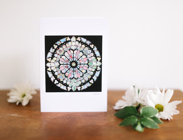 ND & Jewel Rose Combo Stained Glass Greeting Card (Blank) - Falling Leaf Card Co.