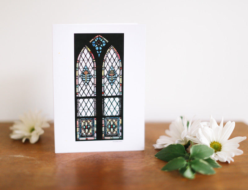 Dual Arch Stained Glass Window Card (Blank) - Falling Leaf Card Co.