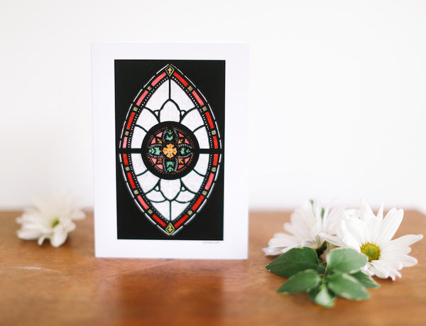 Black Marquis Stained Glass Easter Card - Falling Leaf Card Co.