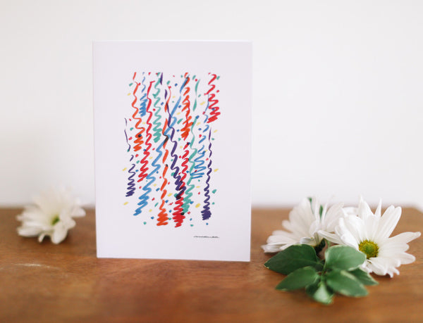 Confetti Streamers Greeting Card (Blank) - Falling Leaf Card Co.