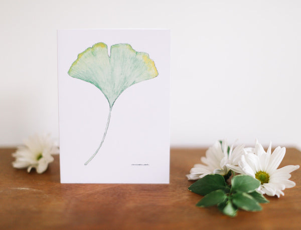 Green Ginkgo Leaf Note Card (Blank) - Falling Leaf Card Co.