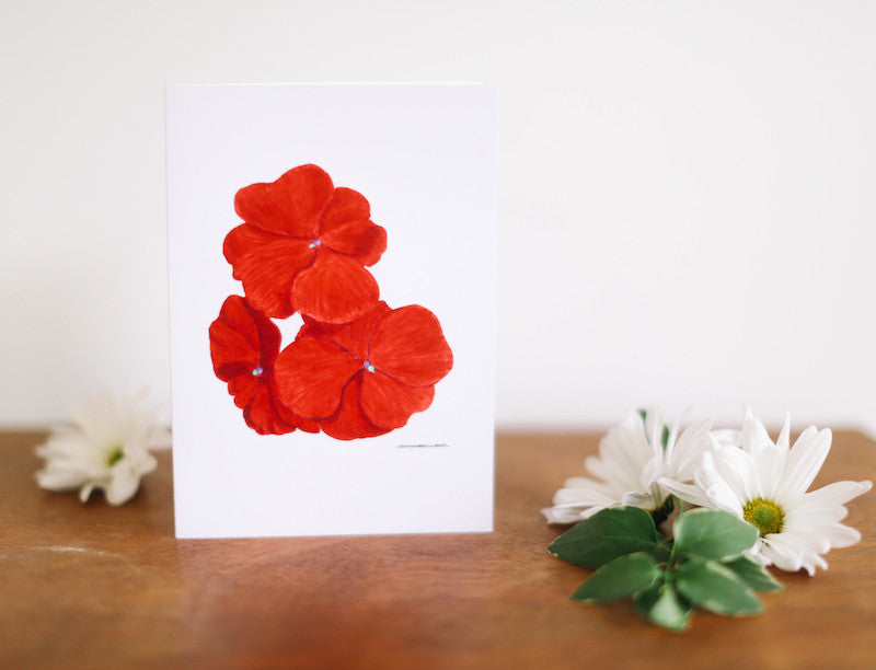 Impatiens Greeting Card (Blank) - Falling Leaf Card Co.