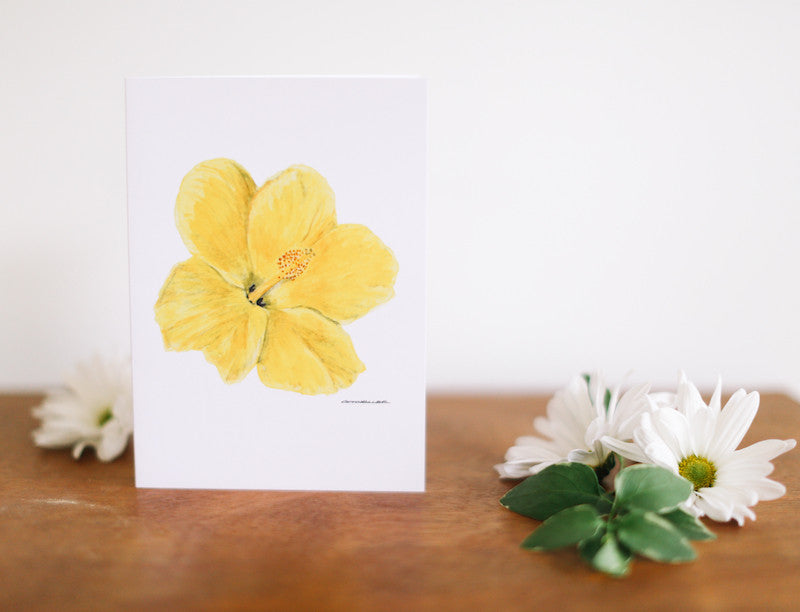 Yellow Hibiscus Greeting Card (Blank) - Falling Leaf Card Co.