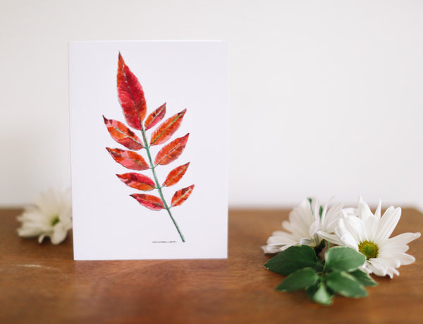 Sumac Leaf Greeting Card (Blank) - Falling Leaf Card Co.