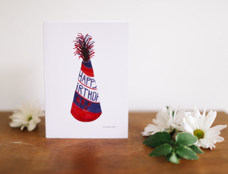 Birthday Hat Greeting Card - Falling Leaf Card Co.
