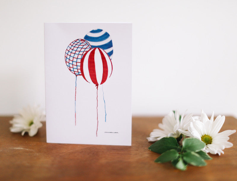 Striped Balloons Note Card (Blank) - Falling Leaf Card Co.
