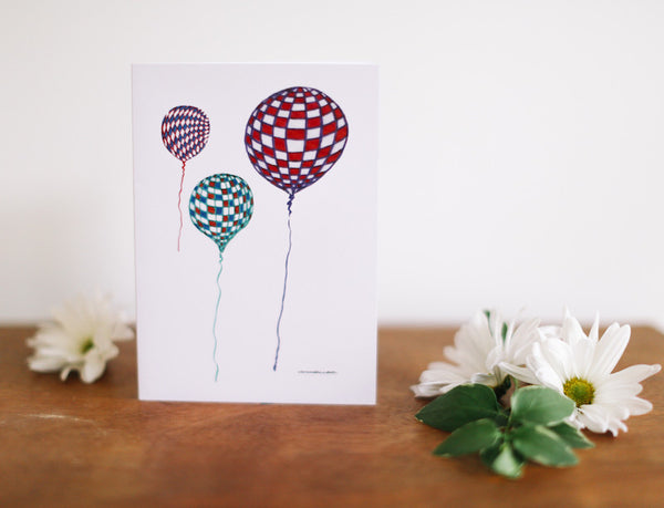 Checkered Balloon Greeting Card (Blank) - Falling Leaf Card Co.