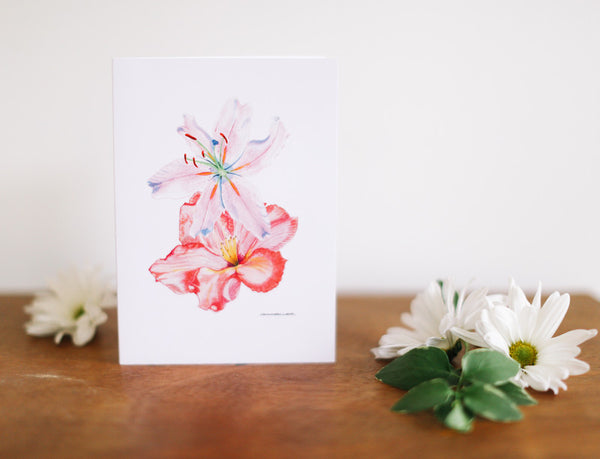 Pink Lily & Rhododendron Note Card (Blank) - Falling Leaf Card Co.