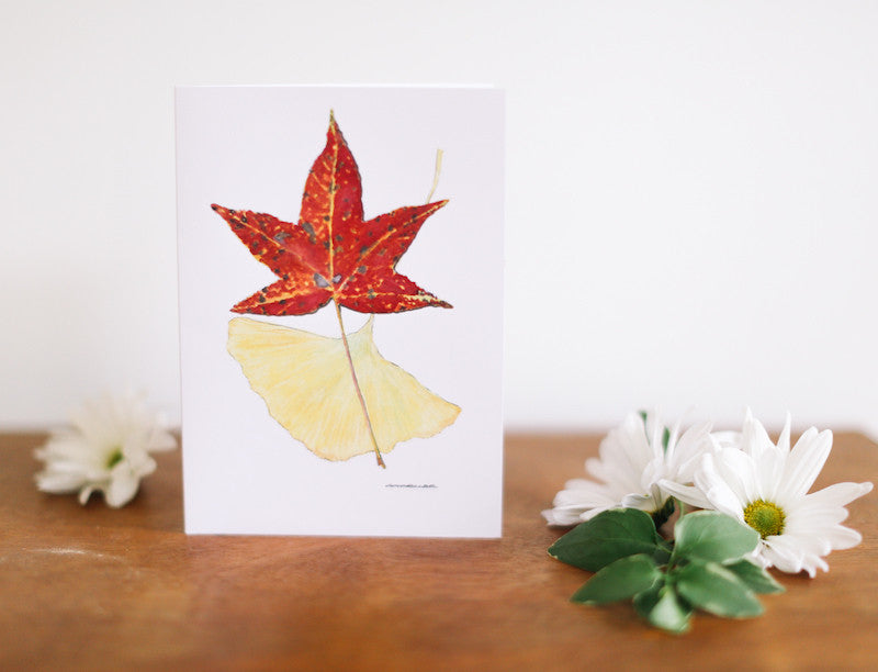 Sweetgum & Yellow Ginkgo Note Card (Blank) - Falling Leaf Card Co.