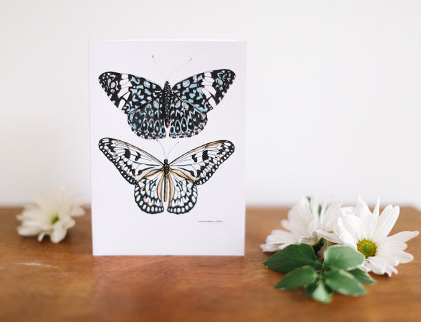 White & Blue Lace Butterflies Greeting Card (Blank) - Falling Leaf Card Co.