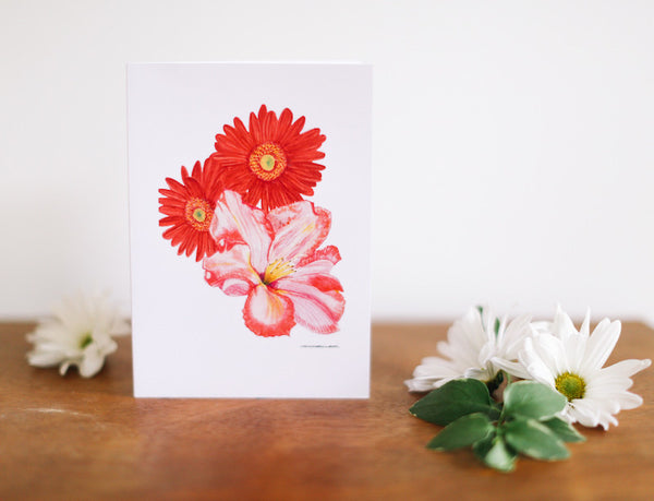 African Daisy & Rhododendron Greeting Card (Blank) - Falling Leaf Card Co.