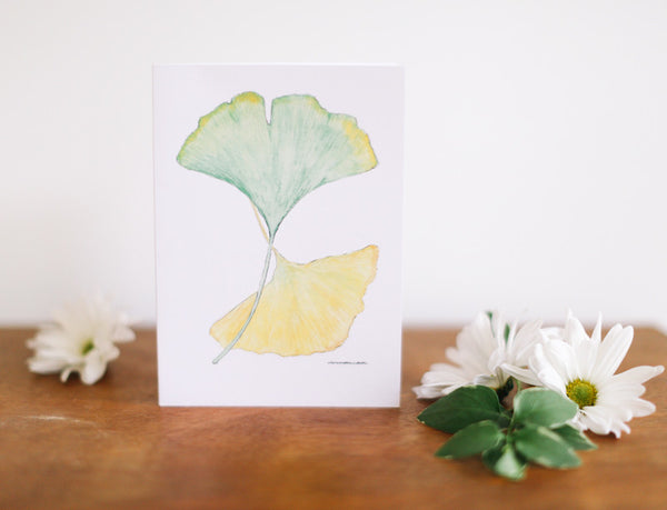 Green & Yellow Ginkgo Note Card (Blank) - Falling Leaf Card Co.
