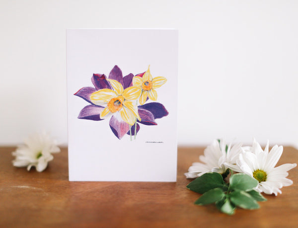 Water Lily & Daffodil Anniversary Card - Falling Leaf Card Co.