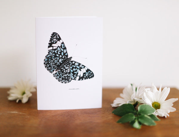 Blue Lace Butterfly Greeting Card (Blank) - Falling Leaf Card Co.