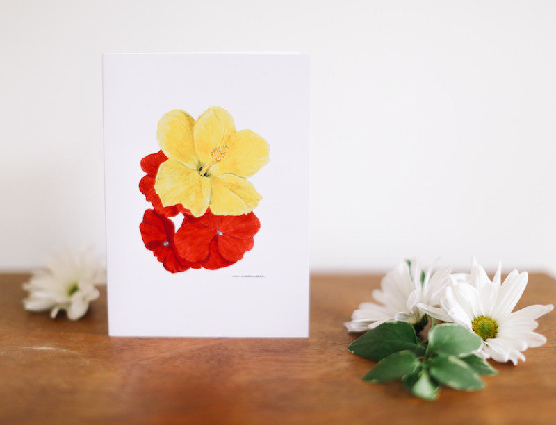 Hibiscus & Impatiens Note Card (Blank) - Falling Leaf Card Co.