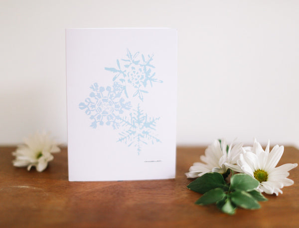 Triple Blue Lace Snowflake Christmas Card - Falling Leaf Card Co.