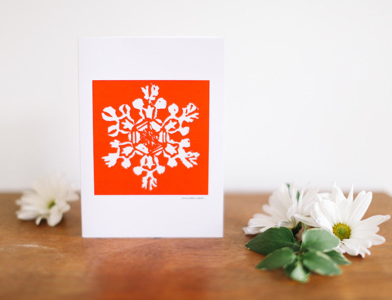 Red Single Snowflake Christmas Card - Falling Leaf Card Co.