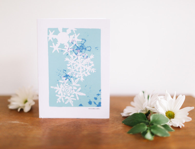 Turquoise Snowflake Multi-print Christmas Card (Blank) - Falling Leaf Card Co.