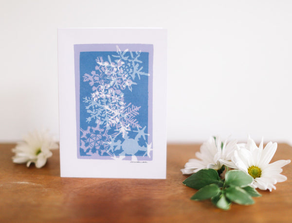 Blue Snowflake Multi-Print Christmas Card (Blank) - Falling Leaf Card Co.