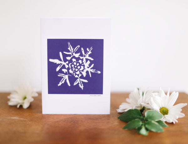 Purple Snowflake Holiday Card (Blank) - Falling Leaf Card Co.
