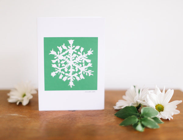 Green Snowflake Greeting Card (Blank) - Falling Leaf Card Co.