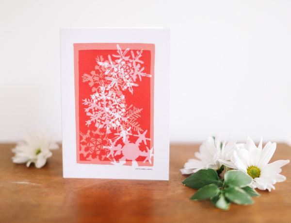 Red Snowflake Multi-Print Christmas Card - Falling Leaf Card Co.