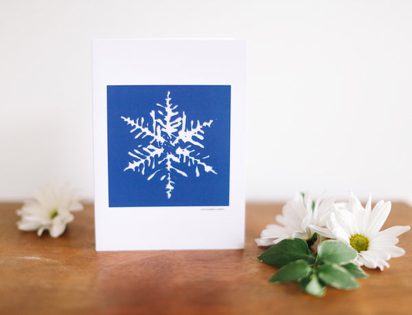 Blue Snowflake Christmas Card (Blank) - Falling Leaf Card Co.