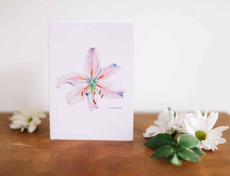 Pink Lily Note Card (Blank) - Falling Leaf Card Co.