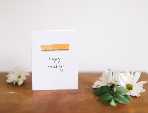 MKNZ Yellow Band Birthday Card (Blank) - Falling Leaf Card Co.