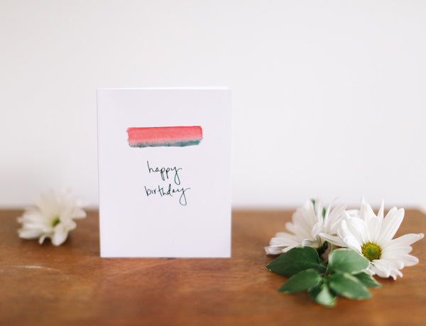MKNZ Pink/Green Band Birthday Card (Blank) - Falling Leaf Card Co.
