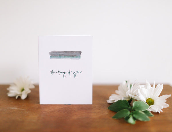 MKNZ Grey/Blue Band Thinking of You Card (Blank) - Falling Leaf Card Co.