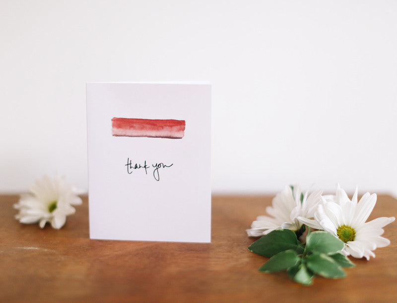 MKNZ Salmon/Red Band Thank You Card (Blank) - Falling Leaf Card Co.