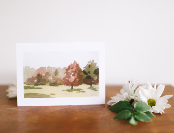 Summer Landscape Note Card (Blank) - Falling Leaf Card Co.