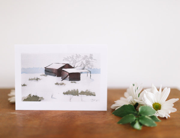 Winter Landscape Note Card (Blank) - Falling Leaf Card Co.