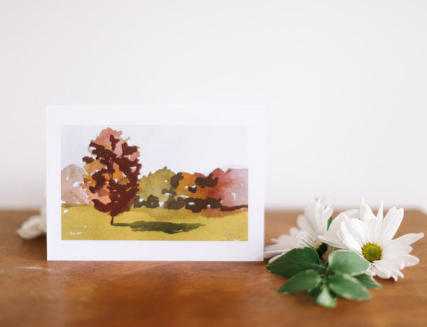 Fall Landscape Note Card (Blank) - Falling Leaf Card Co.