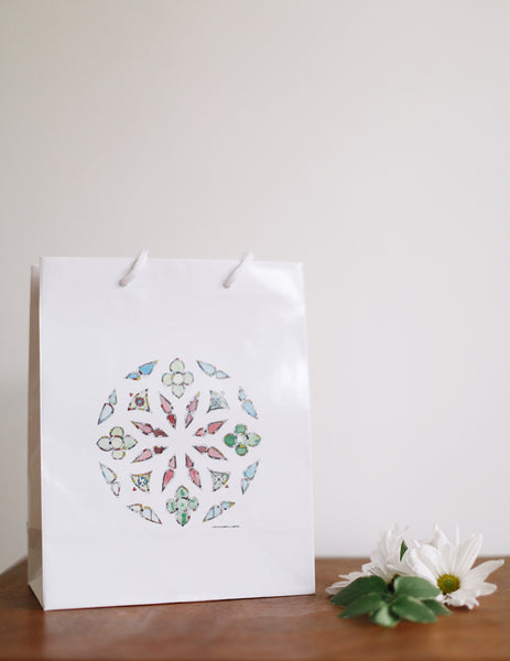 Jewel Rose Stained Glass Gift Bag - Falling Leaf Card Co.