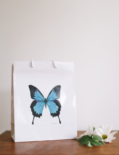 Royal Blue Butterfly Gift Bag - Falling Leaf Card Co.