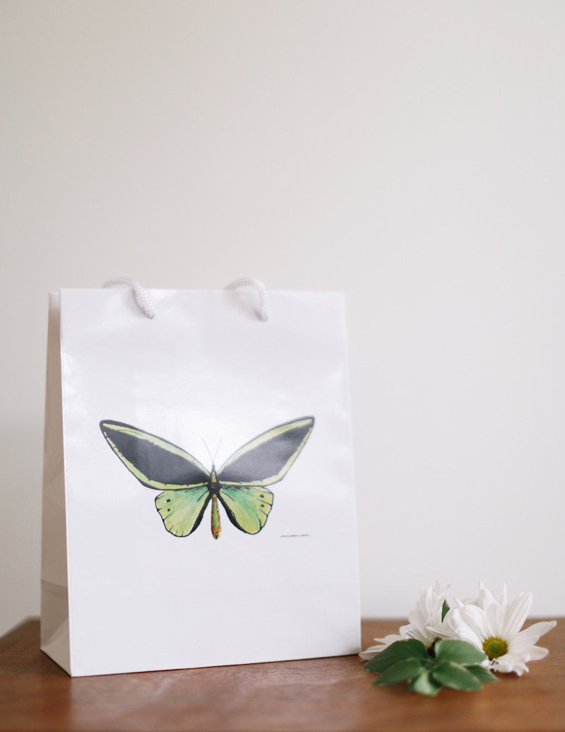 Green Butterfly Gift Bag - Falling Leaf Card Co.