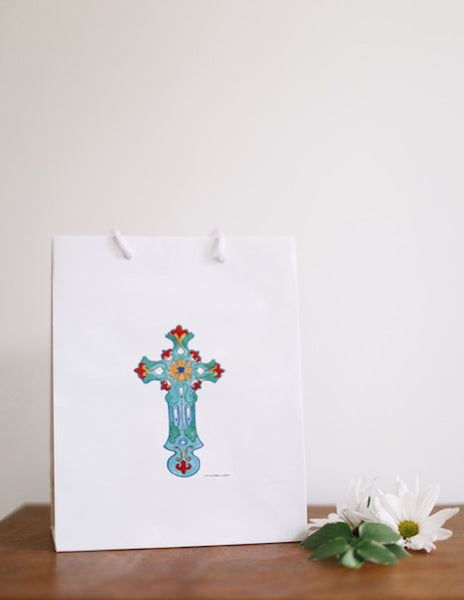 Turquoise Cross Gift Bag - Falling Leaf Card Co.