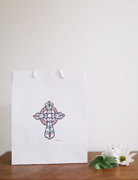 Lace Cross Gift Bag - Falling Leaf Card Co.