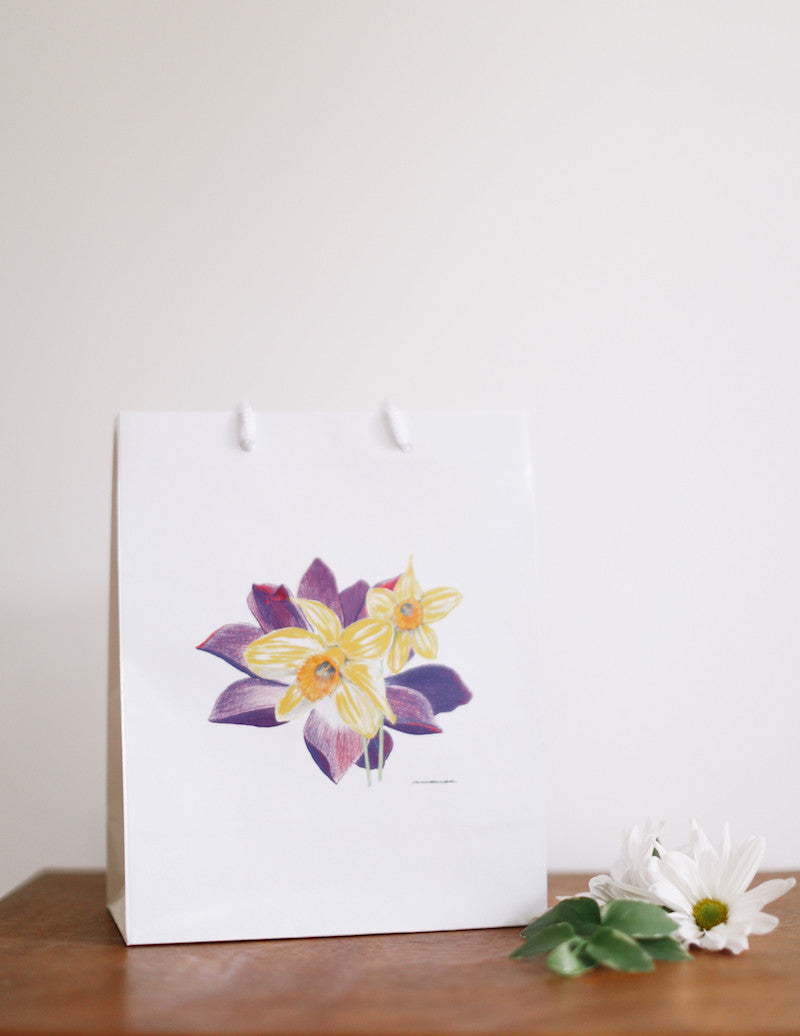 Water Lily & Daffodil Gift Bag - Falling Leaf Card Co.