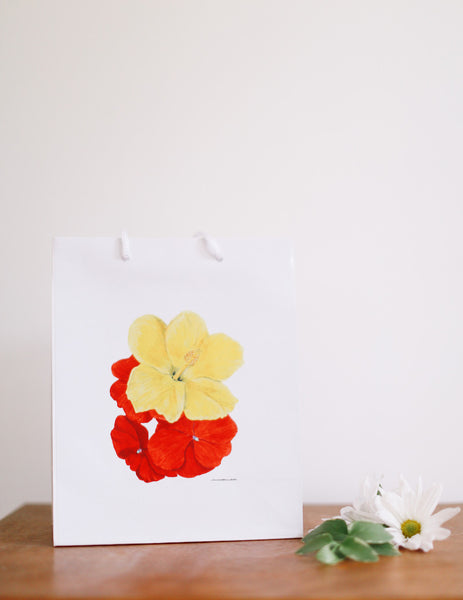 Hibiscus & Impatiens Gift Bag - Falling Leaf Card Co.