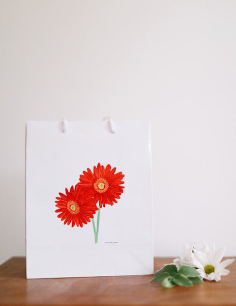 Red African Daisy Gift Bag - Falling Leaf Card Co.