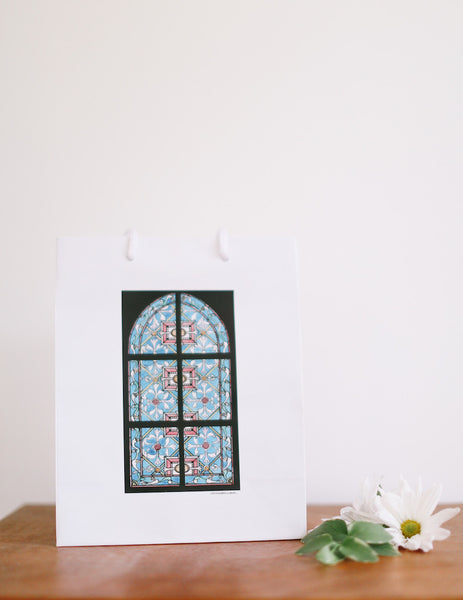 Turquoise Stained Glass Window Gift Bag - Falling Leaf Card Co.