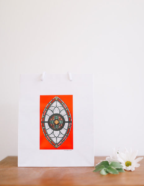 Red Marquis Stained Glass Window Gift Bag - Falling Leaf Card Co.