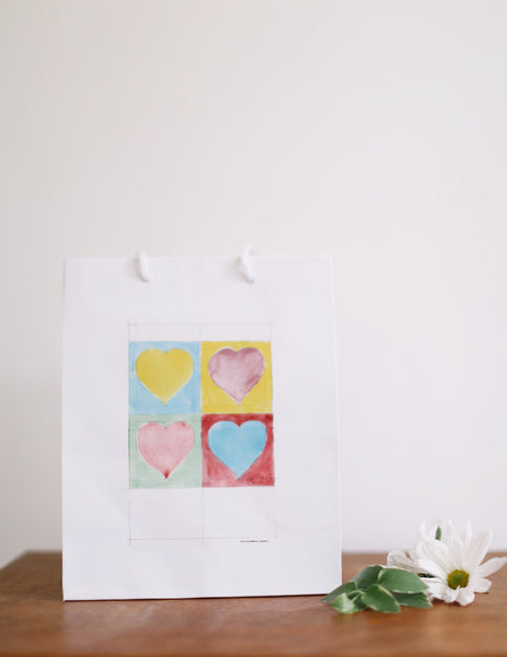 Warhol Hearts Gift Bag - Falling Leaf Card Co.