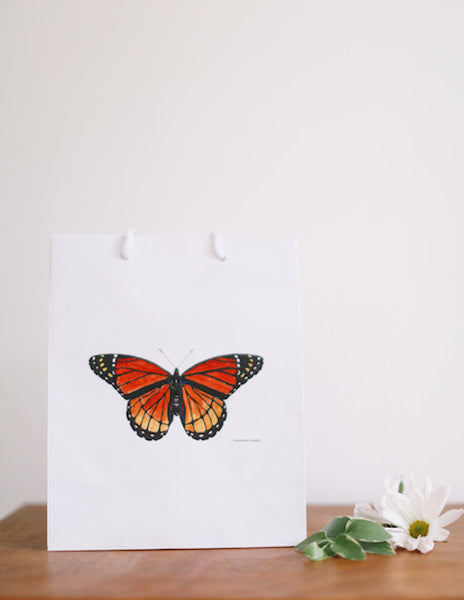 Orange Monarch Butterfly Gift Bag - Falling Leaf Card Co.