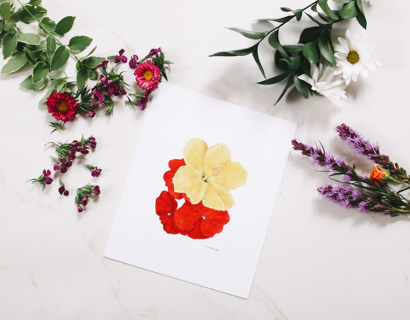 Hibiscus & Impatiens Wall Art - Falling Leaf Card Co.